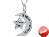 "Sterling Silver ""I Love You to the Moon and Back"" Star Pendant Necklace 18 inch adjustable Chain Included style: CG3498"