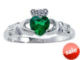 925 Sterling Silver Claddagh Ring with Simulated Heart Shape Emerald style: CG70087A