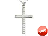 925 Sterling Silver Rhodium Large Bright Cut Squares Cross Pendant Chain Included style: CG71003