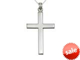 925 Sterling Silver Rhodium Large Plain Pol Cross Pendant Necklace Chain Included style: CG71005