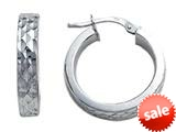 Stellar White™ Rhodium Small Round Bright Cut Hoop Earrings style: SE1050