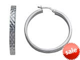 Stellar White™ Rhodium Round Large Bright Cut Hoop Earrings style: SE1058