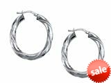 Stellar White™ Rhodium Large Oval Twist Hoops Earrings style: SE1094