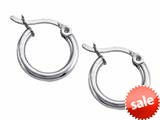 Stellar White™ Rhodium 2mm X 13mm Tubing Hoop Earrings style: SE1600