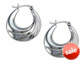 Stellar White™ Rhodium Medium Oval Polished Hoop Earrings style: SE1628