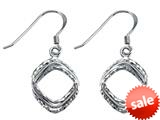 Stellar White™ Rhodium Shepherd Hook Bright Cut Square Earrings style: SE1651