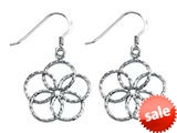 Stellar White™ Rhodium Bright Cut Flower Shepherd Hook Earrings style: SE1654