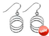 Stellar White™ Rhodium 3 Circle Bright Cut Shepherd Hook Earrings style: SE1657