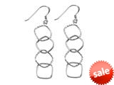 Stellar White™ Rhodium 4 Alt Squares Shepherd Hook Earrings style: SE1659