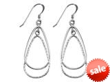 Stellar White™ Rhodium Pear Alt Bright Cut Shepherd Hook Earrings style: SE1661