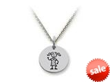 Family Values™ 925 Sterling Silver Girl Disc Pendant Necklace - Chain Included style: SS5002