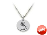 Family Values™ 925 Sterling Silver Blue Collar Dad Disc Pendant Necklace - Chain Included style: SS5005