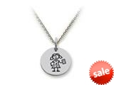 Family Values™ 925 Sterling Silver Texting Girl Disc Pendant Necklace - Chain Included style: SS5022
