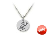 Family Values™ 925 Sterling Silver Teacher Disc Pendant Necklace - Chain Included style: SS5026