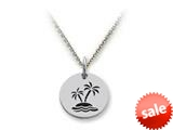 Stellar White™ 925 Sterling Silver Island Palm Trees Disc Pendant Necklace - Chain Included style: SS5103