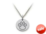 Stellar White™ 925 Sterling Silver Outline Paw Print Disc Pendant Necklace - Chain Included style: SS5109