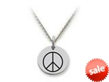 Stellar White™ 925 Sterling Silver Peace Sign Disc Pendant Necklace - Chain Included style: SS5115