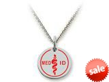 Stellar White™ 925 Sterling Silver MED ID Medium Disc Pendant Necklace - Chain Included style: SS5124