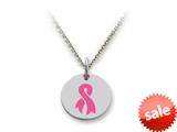 Stellar White™ 925 Sterling Silver Breast Cancer Aware Ribbon Disc Pendant Necklace - 16 To 18 Inch Adjustable Chain Inc style: SS5134