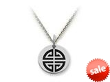 Stellar White™ 925 Sterling Silver Long Life Symbol Disc Pendant Necklace - Chain Included style: SS5137