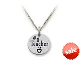Stellar White™ 925 Sterling Silver #1 Teacher Disc Pendant Necklace - Chain Included style: SS5140