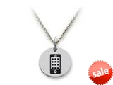 Stellar White™ 925 Sterling Silver Smartphone Disc Pendant Necklace - Chain Included style: SS5147