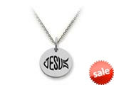 Stellar White™ 925 Sterling Silver Jesus Fish Disc Pendant Necklace - Chain Included style: SS5165