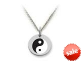 Stellar White™ 925 Sterling Silver Yin-yang Disc Pendant Necklace - Chain Included style: SS5175
