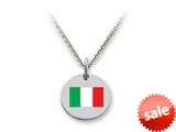 Stellar White™ 925 Sterling Silver Italy Flag Disc Pendant Necklace - Chain Included style: SS5183