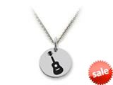 Stellar White™ 925 Sterling Silver Guitar Disc Pendant Necklace - Chain Included style: SS5185