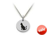 Stellar White™ 925 Sterling Silver Cat Disc Pendant Necklace - Chain Included style: SS5202