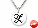 "Stellar White™ 925 Sterling Silver Script Initial ""Z"" Disc Pendant Necklace - Chain Included style: SS8002Z"