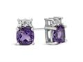 Finejewelers 10k White Gold 6mm Cushion-Cut Amethyst with White Topaz Earrings