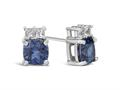 Finejewelers 10k White Gold 6mm Cushion-Cut Created Blue Sapphire with White Topaz Earrings