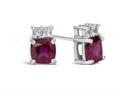 Finejewelers 10k White Gold 6mm Cushion-Cut Created Ruby with White Topaz Earrings