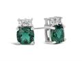 Finejewelers 10k White Gold 6mm Cushion-Cut Created Emerald with White Topaz Earrings
