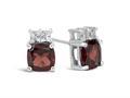 Finejewelers 10k White Gold 6mm Cushion-Cut Garnet with White Topaz Earrings