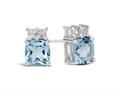 Finejewelers 10k White Gold 6mm Cushion-Cut Swiss Blue Topaz with White Topaz Earrings