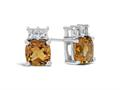 Finejewelers 10k White Gold 6mm Cushion-Cut Citrine with White Topaz Earrings