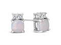 Finejewelers 10k White Gold 6mm Cushion-Cut Created Opal with White Topaz Earrings