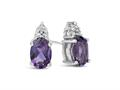 Finejewelers 10k White Gold 7x5mm Oval Amethyst with Round White Topaz Earrings