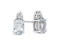 Finejewelers 10k White Gold 7x5mm Oval Aquamarine with White Topaz Earrings
