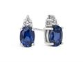 Finejewelers 10k White Gold 7x5mm Oval Created Blue Sapphire with White Topaz Earrings