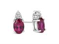 Finejewelers 10k White Gold 7x5mm Oval Created Ruby with Round White Topaz Earrings