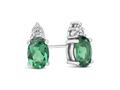 Finejewelers 10k White Gold 7x5mm Oval Created Emerald with White Topaz Earrings