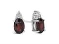 Finejewelers 10k White Gold 7x5mm Oval Garnet with Round White Topaz Earrings