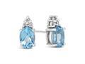 Finejewelers 10k White Gold 7x5mm Oval Swiss Blue Topaz with White Topaz Earrings
