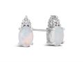 Finejewelers 10k White Gold 7x5mm Oval Created Opal with White Topaz Earrings