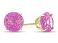 7x7mm Round Created Pink Sapphire Post-With-Friction-Back Stud Earrings