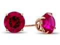 Finejewelers 14k Rose Gold 7mm Round Created Ruby Post-With-Friction-Back Stud Earrings